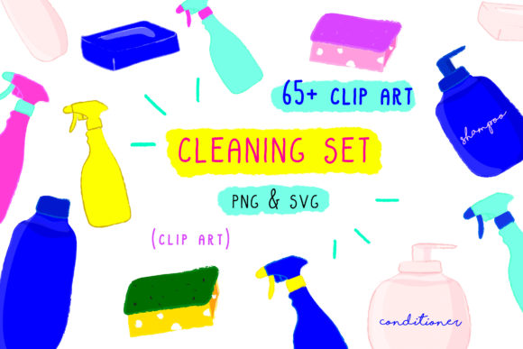 Print on Demand: Cleaning Spray Set, Soap House Clip Art, Graphic Icons By Inkclouddesign