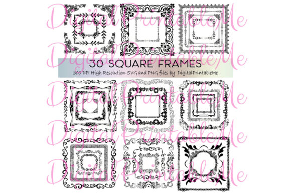 Print on Demand: Clip Art Frames, Set, Border 30 Art Deco Gráfico Ilustraciones Por DigitalPrintableMe