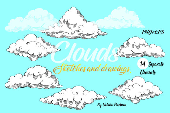 Print on Demand: Clouds Clip Art Graphic Illustrations By natalia.piacheva