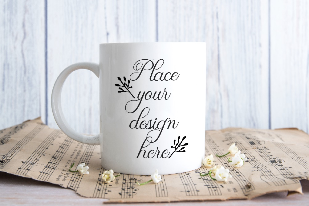 Download Free Coffee Mug Mock Up Music Stock Photo Cup Graphic By Leo Flo for Cricut Explore, Silhouette and other cutting machines.