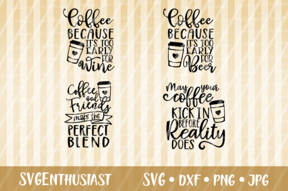Download Free Coffee Fun Sayings Bundle Svg Cut Files Graphic By Svgenthusiast Creative Fabrica for Cricut Explore, Silhouette and other cutting machines.