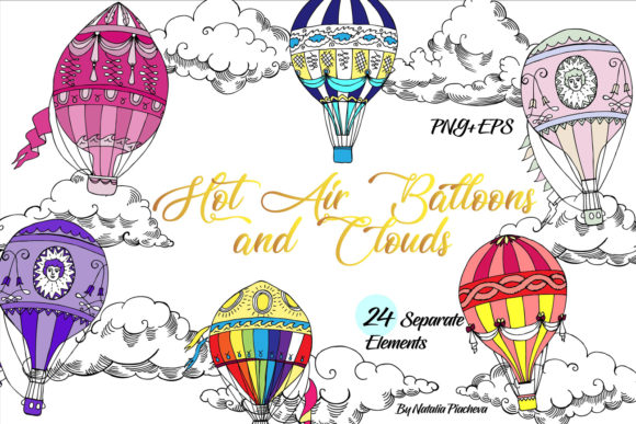 Print on Demand: Colored Air Balloons Clipart Graphic Illustrations By natalia.piacheva