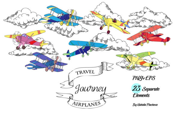 Print on Demand: Colored Airplanes Clipart Graphic Illustrations By natalia.piacheva