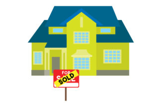 Colorful Sold Sign in Front of Two Story Home Zuhause Plotterdatei von Creative Fabrica Crafts