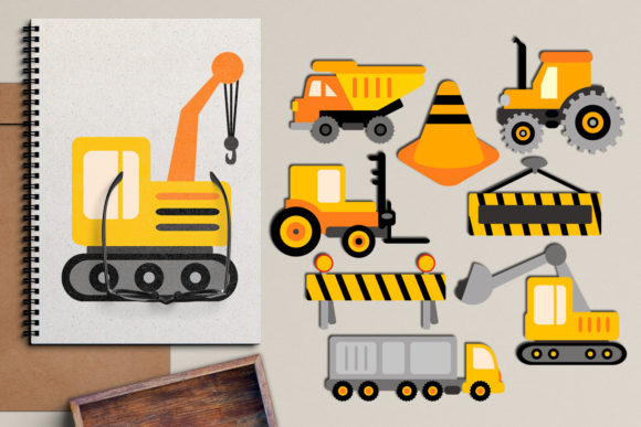 Print on Demand: Construction Trucks Graphic Illustrations By Revidevi