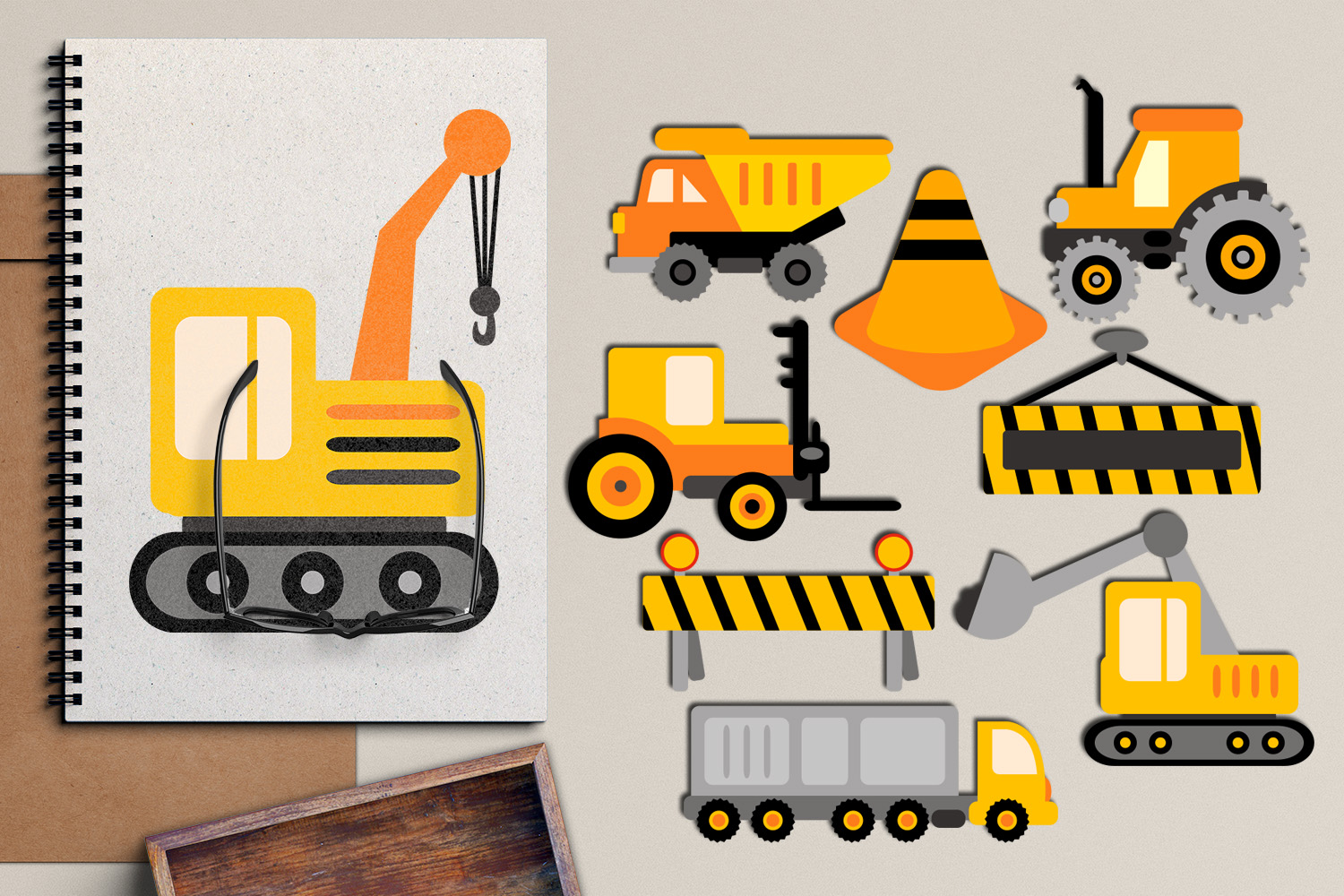 Download Free Construction Trucks Graphic By Revidevi Creative Fabrica for Cricut Explore, Silhouette and other cutting machines.