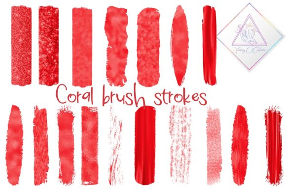 Print on Demand: Coral Brush Strokes Clipart Graphic Illustrations By fantasycliparts