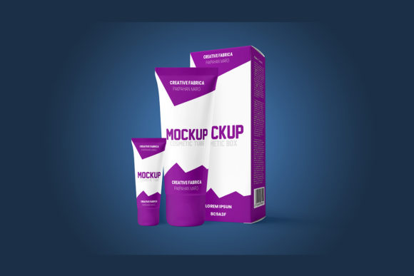 Print on Demand: Cosmetics Mockups Tube and Box PSD Grafik Produktmodelle von PakpahanMarg