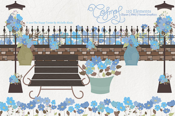 Print on Demand: Cosmos 02 - Blue Flower Clipart & Vector Graphic Illustrations By Michelle Alzola