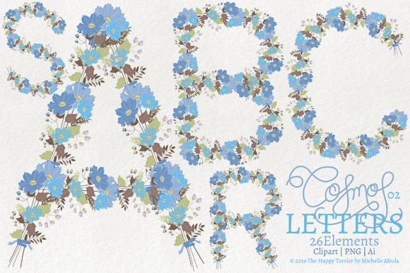 Print on Demand: Cosmos 02 - Blue Letters Flower Clipart Graphic Illustrations By Michelle Alzola