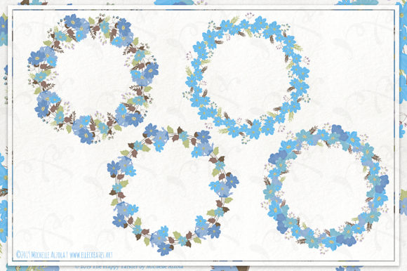 Cosmos 02 Wreaths - Blue Flower Clipart Graphic Download