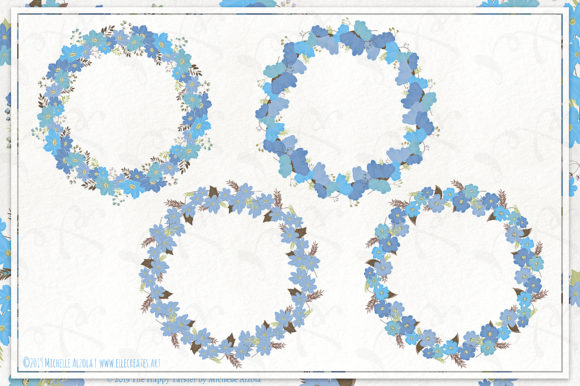Cosmos 02 Wreaths - Blue Flower Clipart Graphic Item