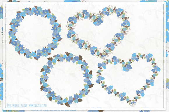 Cosmos 02 Wreaths - Blue Flower Clipart Graphic Design