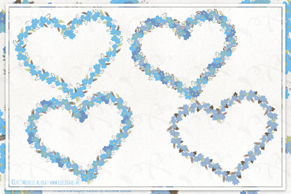 Cosmos 02 Wreaths - Blue Flower Clipart Graphic Preview