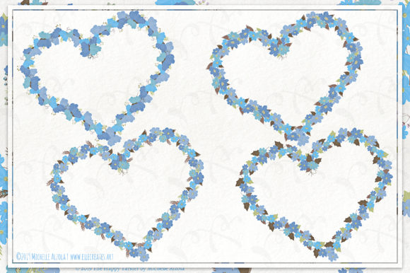 Cosmos 02 Wreaths - Blue Flower Clipart Graphic Image