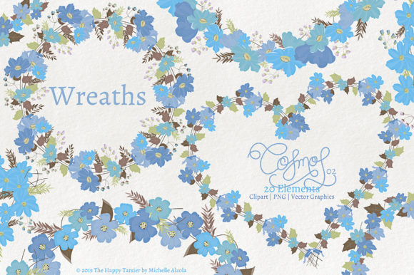 Cosmos 02 Wreaths - Blue Flower Clipart Graphic