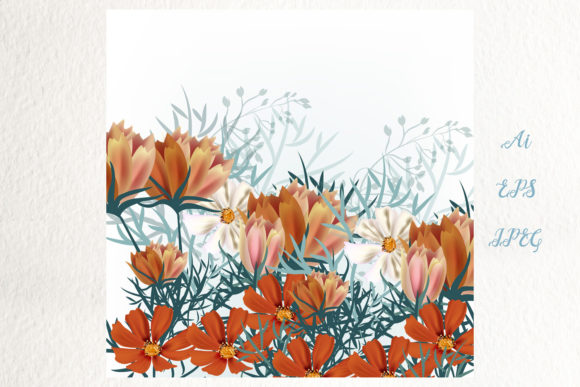 Download Free Cosmos Meadow Vector Illustration Graphic By Fleurartmariia for Cricut Explore, Silhouette and other cutting machines.