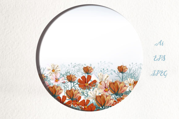 Cosmos Meadow, Vector Illustration Graphic Backgrounds By fleurartmariia - Image 1