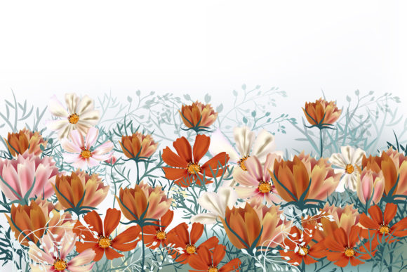 Cosmos Meadow, Vector Illustration Graphic Backgrounds By fleurartmariia - Image 2