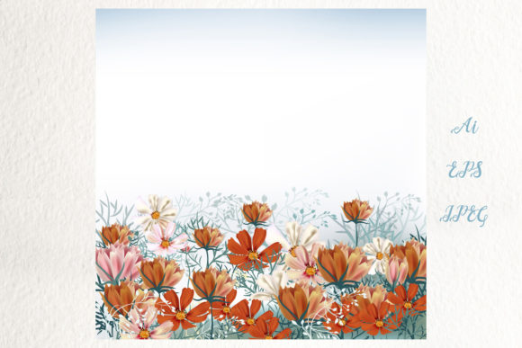 Cosmos Meadow, Vector Illustration Graphic Backgrounds By fleurartmariia - Image 3