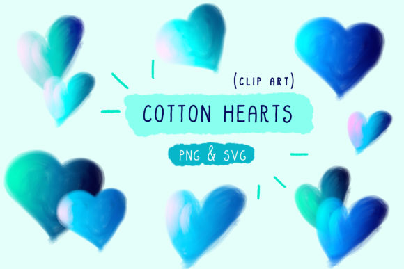 Cotton Candy, Hearts Clip Art, Handmade Graphic By Inkclouddesign Image 1