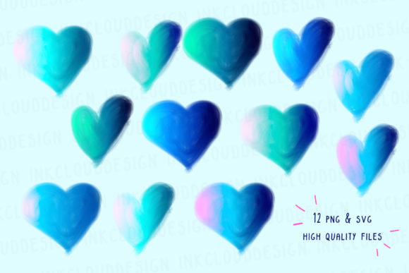 Cotton Candy, Hearts Clip Art, Handmade Graphic By Inkclouddesign Image 2