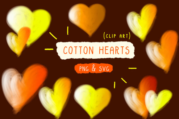 Print on Demand: Cotton Candy, Hearts Clip Art, Handmade Graphic Icons By Inkclouddesign - Image 1