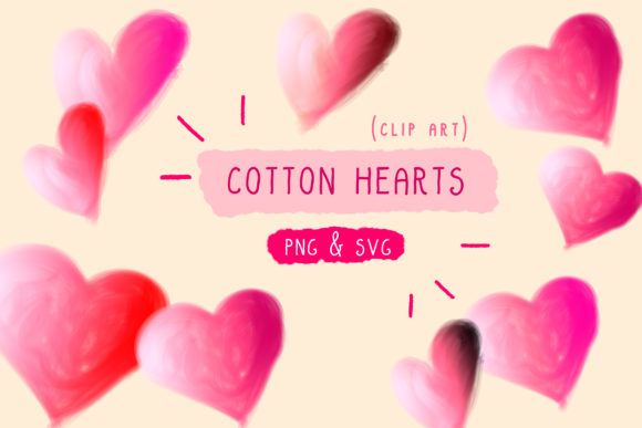 Print on Demand: Cotton Candy, Hearts Clip Art, Handmade Graphic Icons By Inkclouddesign