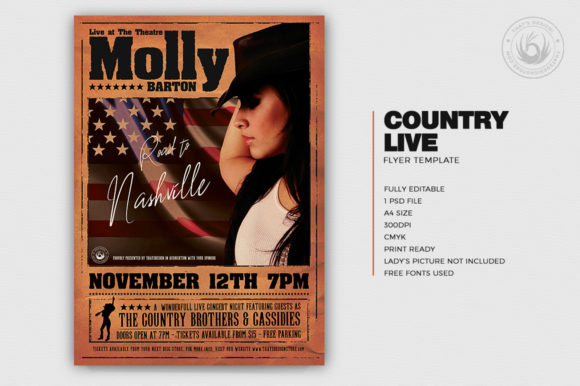 Country Live Flyer Template V2 Graphic Print Templates By ThatsDesignStore - Image 2