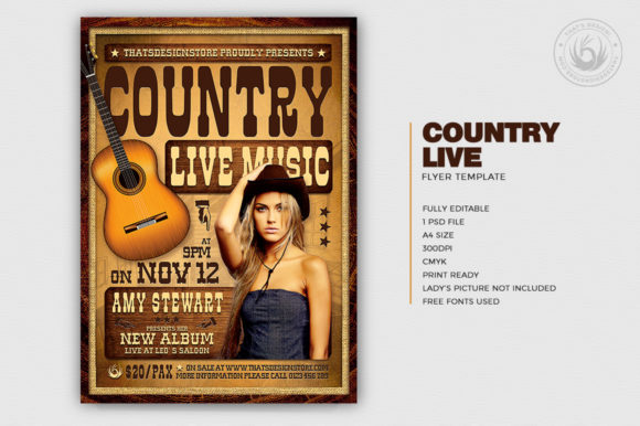 Country Live Flyer Template V4 Graphic By ThatsDesignStore Image 2