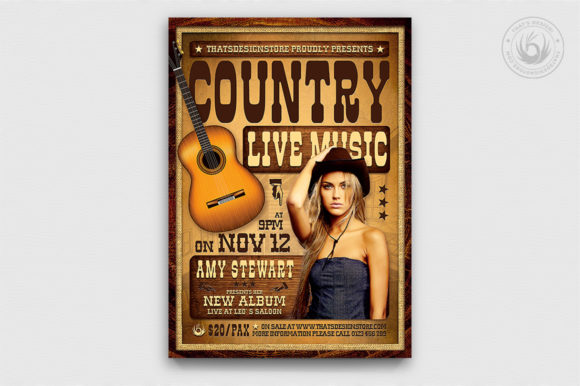 Country Live Flyer Template V4 Graphic By ThatsDesignStore Image 1