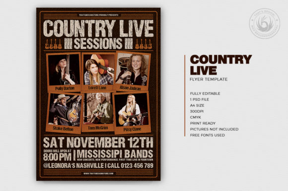 Country Live Flyer Template V6 Graphic By ThatsDesignStore Image 2
