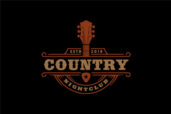 Print on Demand: Country Music Bar Typography Logo Design Graphic Logos By Enola99d