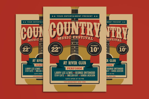 Country Music Festival Graphic Print Templates By muhamadiqbalhidayat