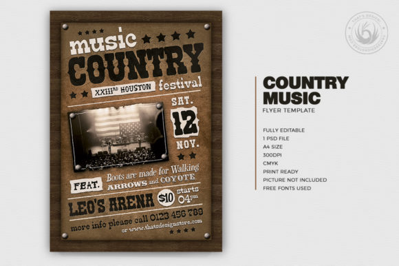 Country Music Flyer Template V2 Graphic By ThatsDesignStore Image 2