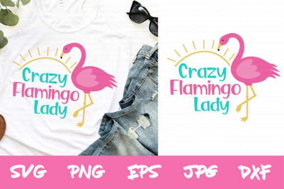 Download Free Crazy Flamingo Lady Svg Silhouette Svg Graphic By Thejaemarie for Cricut Explore, Silhouette and other cutting machines.