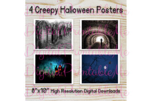 Creepy Halloween Poster Pack of 4 Signs Graphic By DigitalPrintableMe