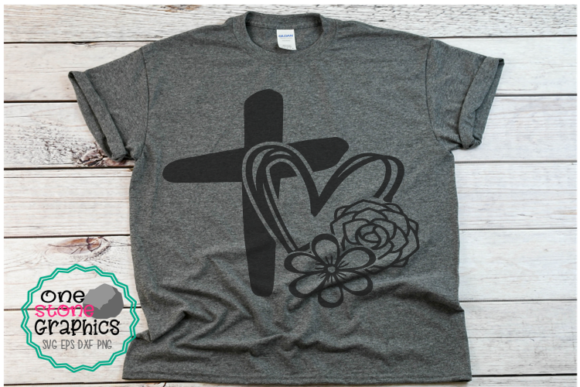 Cross with Heart - Flowers Faith Graphic Crafts By OneStoneGraphics