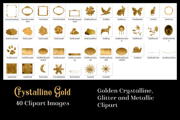 Print on Demand: Crystalline Gold Clipart Set - 40 Images Graphic Objects By SapphireXDesigns - Image 2