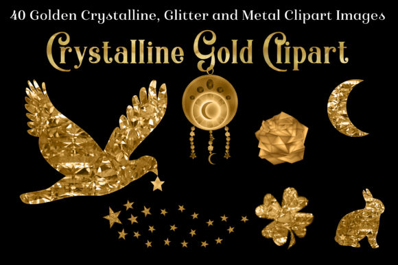 Crystalline Gold Clipart Set - 40 Images Graphic By SapphireXDesigns