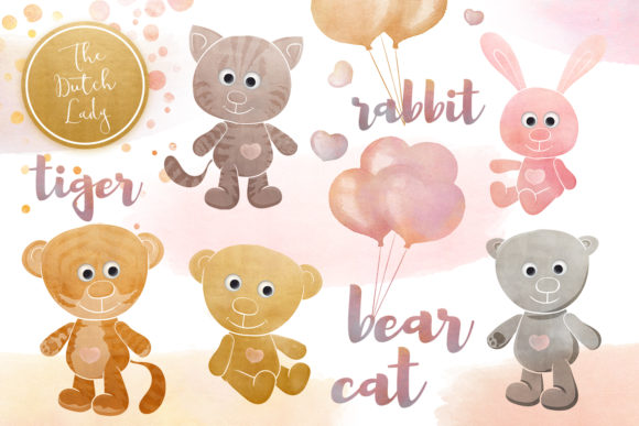 Print on Demand: Cuddly Toy Animals Clipart Set Graphic Illustrations By daphnepopuliers
