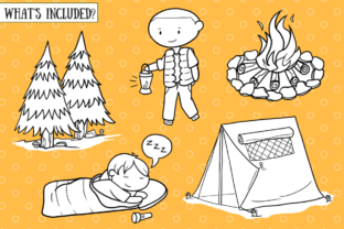 Print on Demand: Cute Camping (Black and White) Graphic Illustrations By Keepinitkawaiidesign 2