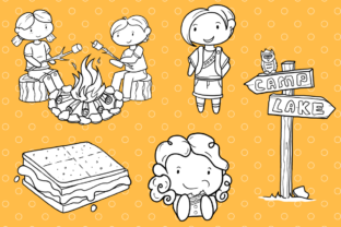 Print on Demand: Cute Camping (Black and White) Graphic Illustrations By Keepinitkawaiidesign 3