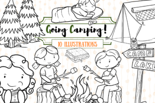 Print on Demand: Cute Camping (Black and White) Graphic Illustrations By Keepinitkawaiidesign 1