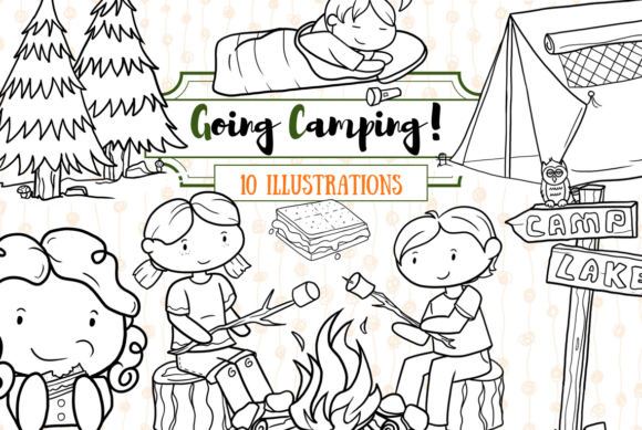 Print on Demand: Cute Camping (Black and White) Grafik Illustrationen von Keepinitkawaiidesign