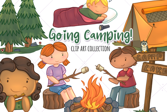 Print on Demand: Cute Camping Graphic Illustrations By Keepinitkawaiidesign