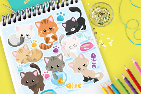 Print on Demand: Cute Cats Graphic Illustrations By Prettygrafik