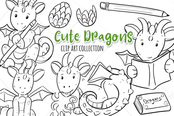 Print on Demand: Cute Dragons Black and White Graphic Illustrations By Keepinitkawaiidesign