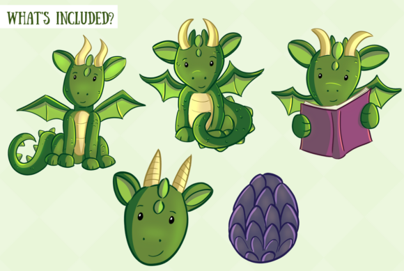 Print on Demand: Cute Dragons Graphic Illustrations By Keepinitkawaiidesign - Image 2