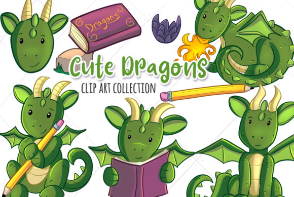 Print on Demand: Cute Dragons Grafik Illustrationen von Keepinitkawaiidesign